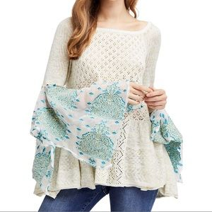 Free People Sweater Bell Sleeve Open Knit Pointelle Breeze New Size Small